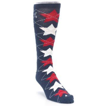 Image of Navy Red White Stars XL Men's Dress Socks (side-1-front-02)