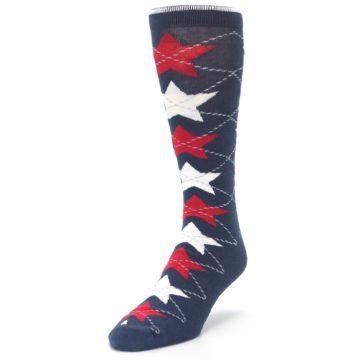 Image of Navy Red White Stars XL Men's Dress Socks (side-2-front-07)