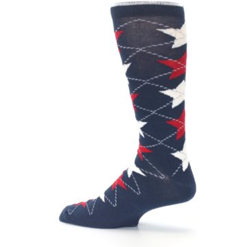 Image of Navy Red White Stars XL Men's Dress Socks (side-2-13)