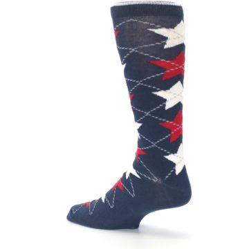 Image of Navy Red White Stars XL Men's Dress Socks (side-2-back-14)