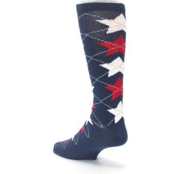 Image of Navy Red White Stars XL Men's Dress Socks (side-2-back-15)