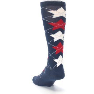 Image of Navy Red White Stars XL Men's Dress Socks (side-2-back-16)