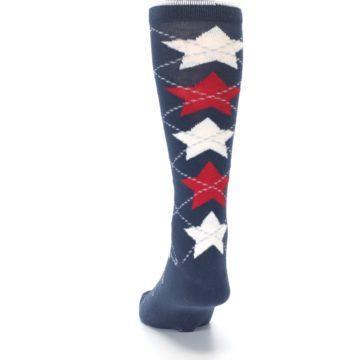 Image of Navy Red White Stars XL Men's Dress Socks (back-17)