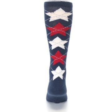 Image of Navy Red White Stars XL Men's Dress Socks (back-18)