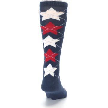Image of Navy Red White Stars XL Men's Dress Socks (back-19)