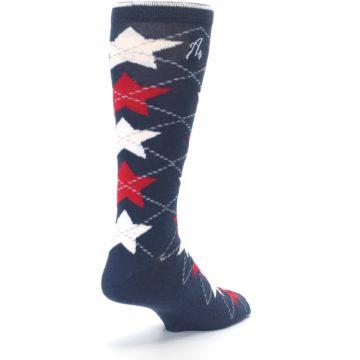 Image of Navy Red White Stars XL Men's Dress Socks (side-1-back-21)