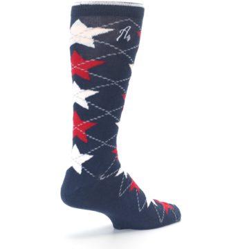 Image of Navy Red White Stars XL Men's Dress Socks (side-1-back-22)