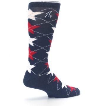 Image of Navy Red White Stars XL Men's Dress Socks (side-1-23)