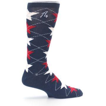 Image of Navy Red White Stars XL Men's Dress Socks (side-1-24)