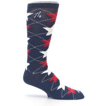 Image of Navy Red White Stars XL Men's Dress Socks (side-1-25)
