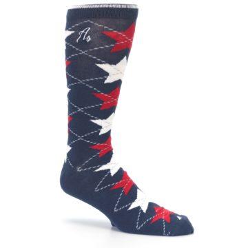 Image of Navy Red White Stars XL Men's Dress Socks (side-1-26)