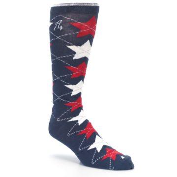 Image of Navy Red White Stars XL Men's Dress Socks (side-1-27)