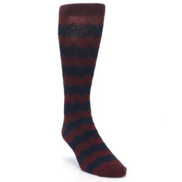 Image of Maroon Navy Chevron Stripe XL Men's Dress Socks (side-1-front-02)