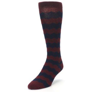 Image of Maroon Navy Chevron Stripe XL Men's Dress Socks (side-2-front-07)