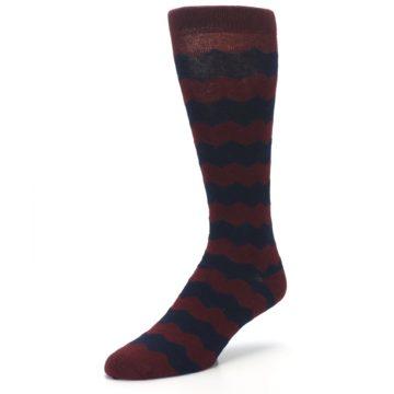 Image of Maroon Navy Chevron Stripe XL Men's Dress Socks (side-2-front-08)