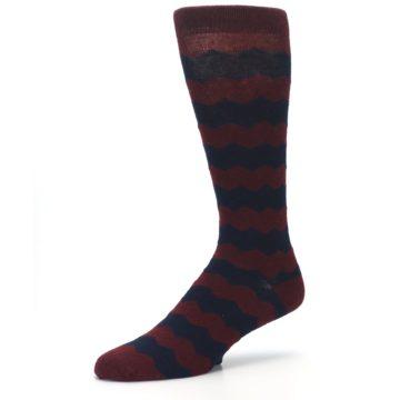 Image of Maroon Navy Chevron Stripe XL Men's Dress Socks (side-2-09)
