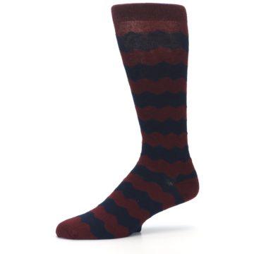 Image of Maroon Navy Chevron Stripe XL Men's Dress Socks (side-2-10)