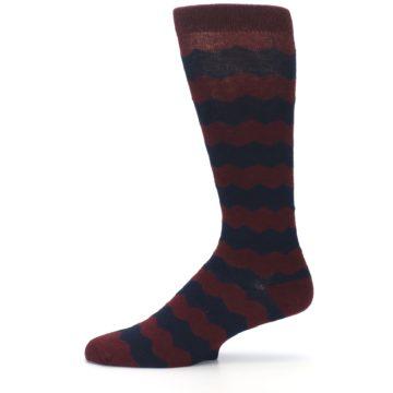 Image of Maroon Navy Chevron Stripe XL Men's Dress Socks (side-2-11)