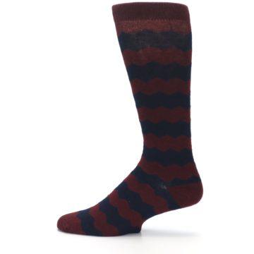 Image of Maroon Navy Chevron Stripe XL Men's Dress Socks (side-2-12)