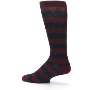 Image of Maroon Navy Chevron Stripe XL Men's Dress Socks (side-2-13)