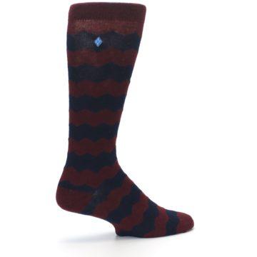 Image of Maroon Navy Chevron Stripe XL Men's Dress Socks (side-1-23)