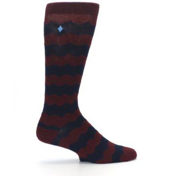 Image of Maroon Navy Chevron Stripe XL Men's Dress Socks (side-1-24)
