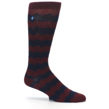 Image of Maroon Navy Chevron Stripe XL Men's Dress Socks (side-1-25)
