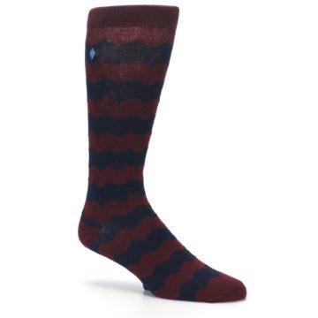 Image of Maroon Navy Chevron Stripe XL Men's Dress Socks (side-1-26)
