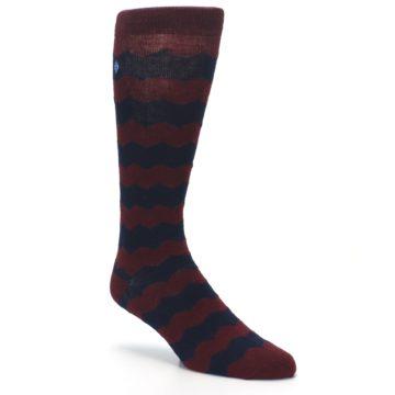 Image of Maroon Navy Chevron Stripe XL Men's Dress Socks (side-1-27)