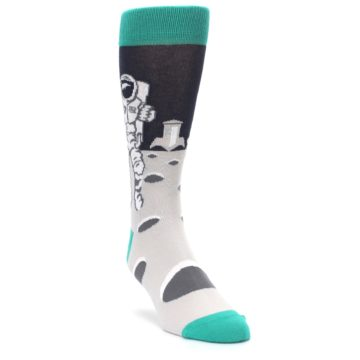 Image of Gray Teal Space Astronaut Men's Dress Socks (side-1-front-02)
