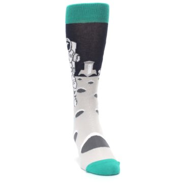 Image of Gray Teal Space Astronaut Men's Dress Socks (side-1-front-03)
