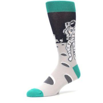 Image of Gray Teal Space Astronaut Men's Dress Socks (side-2-09)