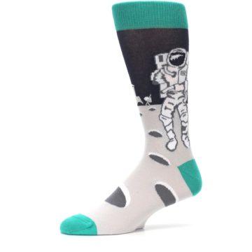 Image of Gray Teal Space Astronaut Men's Dress Socks (side-2-10)