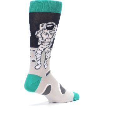 Image of Gray Teal Space Astronaut Men's Dress Socks (side-1-back-22)