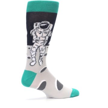 Image of Gray Teal Space Astronaut Men's Dress Socks (side-1-23)