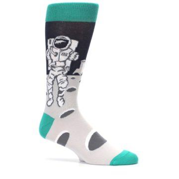 Image of Gray Teal Space Astronaut Men's Dress Socks (side-1-25)
