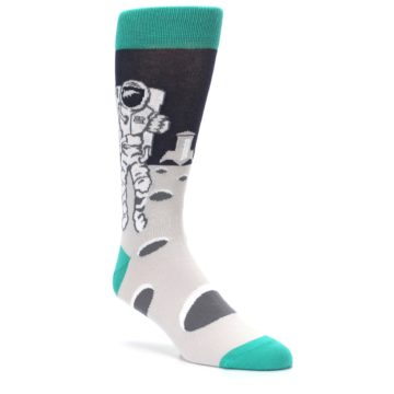 Image of Gray Teal Space Astronaut Men's Dress Socks (side-1-27)