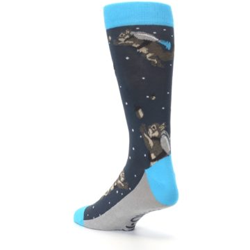 Image of Navy Astro-nut Space Squirrel Men's Dress Socks (side-2-back-15)