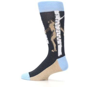 Image of Charcoal Brown Bigfoot Sasquatch Men's Dress Socks (side-2-13)