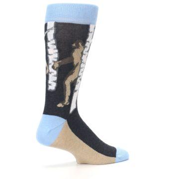 Image of Charcoal Brown Bigfoot Sasquatch Men's Dress Socks (side-1-23)