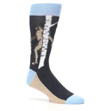 Image of Charcoal Brown Bigfoot Sasquatch Men's Dress Socks (side-1-26)