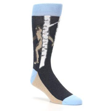 Image of Charcoal Brown Bigfoot Sasquatch Men's Dress Socks (side-1-27)