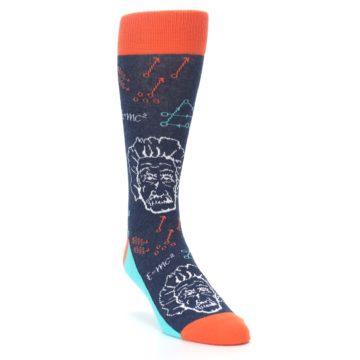 Image of Navy Orange Einstein Math Genius Men's Dress Socks (side-1-front-02)
