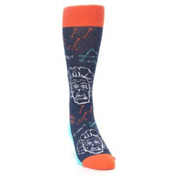 Image of Navy Orange Einstein Math Genius Men's Dress Socks (side-1-front-03)
