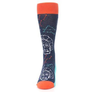 Image of Navy Orange Einstein Math Genius Men's Dress Socks (front-05)