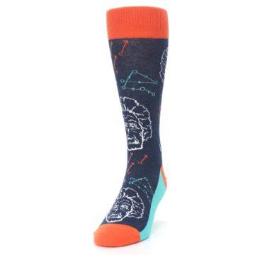 Image of Navy Orange Einstein Math Genius Men's Dress Socks (side-2-front-06)