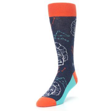 Image of Navy Orange Einstein Math Genius Men's Dress Socks (side-2-front-07)