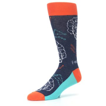 Image of Navy Orange Einstein Math Genius Men's Dress Socks (side-2-09)