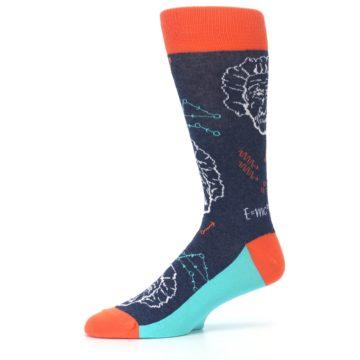 Image of Navy Orange Einstein Math Genius Men's Dress Socks (side-2-10)