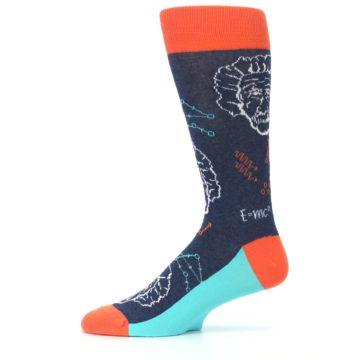 Image of Navy Orange Einstein Math Genius Men's Dress Socks (side-2-11)